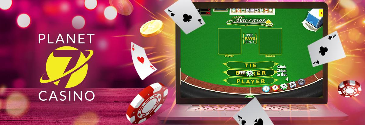 online baccarat table on a screen with aces flying around