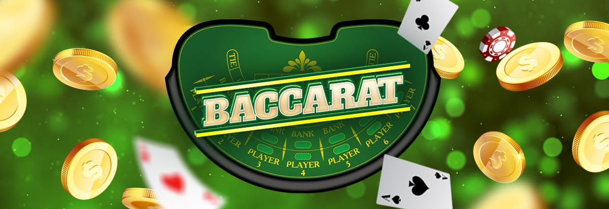 illustration of baccarat table with coins and aces flying around