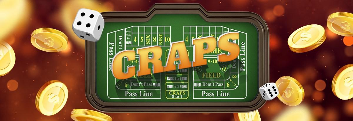 Craps table with dice flying aroud