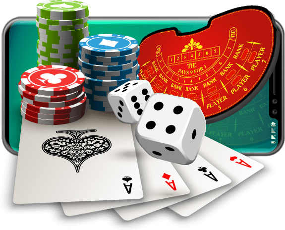 Baccarat table with cards, chips and dice on a mobile screen