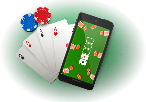 video poker game on mobile with cards and chips
