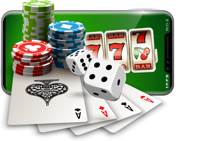 dice cards and roulette chips