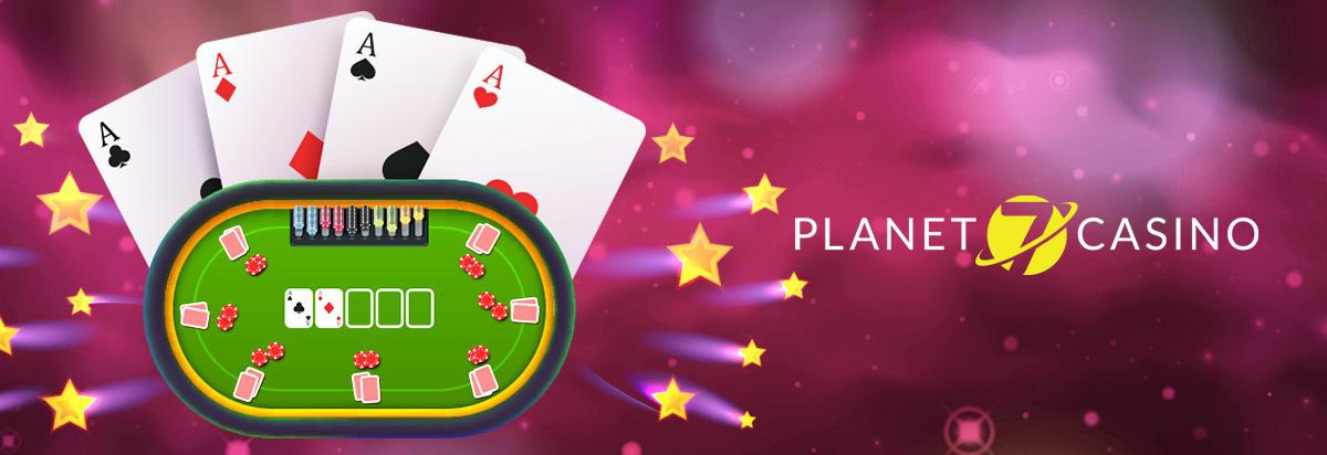 poker table with 4 aces on pink star background