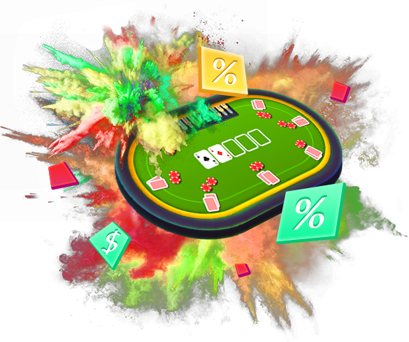 video poker table with multi-coloured explosion
