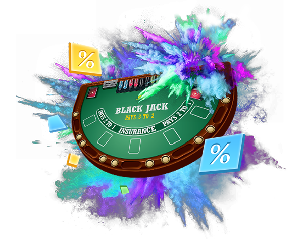 blackjack table in a cloud of smoke