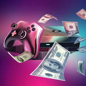 gaming console with US dollars flying around