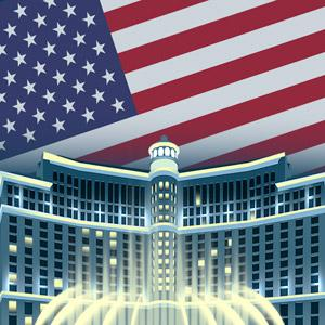 American flag above a casino resort