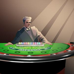 Illustration of a front view of a blackjack player