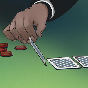 Illustraition of a dealer about to flip a blackjack card