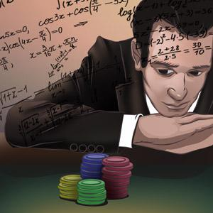 Illustration of gambler on a blackjack table