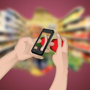 An illustration of a hand scanning a product with a mobile phone