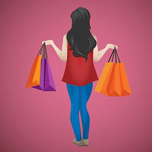 An illustration of a back view of a woman holding many shopping handbags.