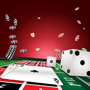 An illustration of a roulette table with aces and dice while chips flying around