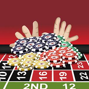 An illustration of hands putting a big stack of chips on a roulette table