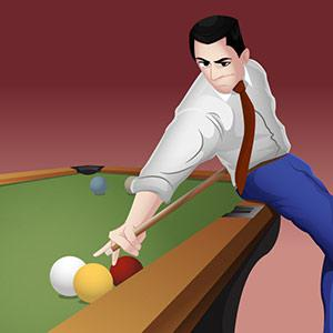 pool player holding the cue behind his back