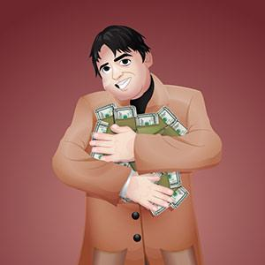 An illustration of a poker player hugging a huge pile of dollar notes