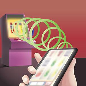 An illustration of slot machines fire a signal to a smartphone.