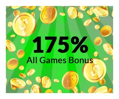 175% all games bonus