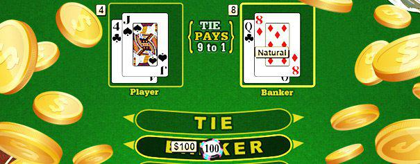 online baccarat table with chips on the banker and coins flying around