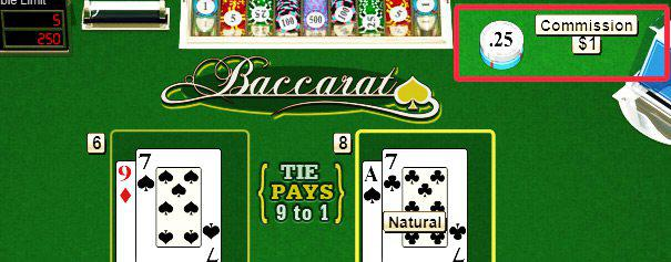 2 pairs of cards on an online baccarat table with house commission