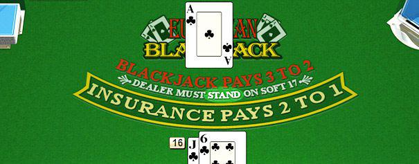 a pair of cards on a blackjack table against the dealer's ace
