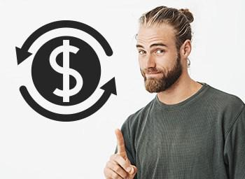 A bearded guy is pointing his finger with dollar sign to his left