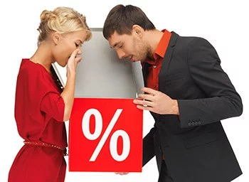 A man and woman looking into a box with Illustration of percentage sign