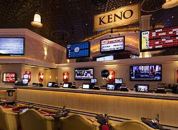 Keno booths displayed inside a live casino establishment