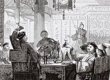 Black and white painting of ancient Asian gamblers playing Keno