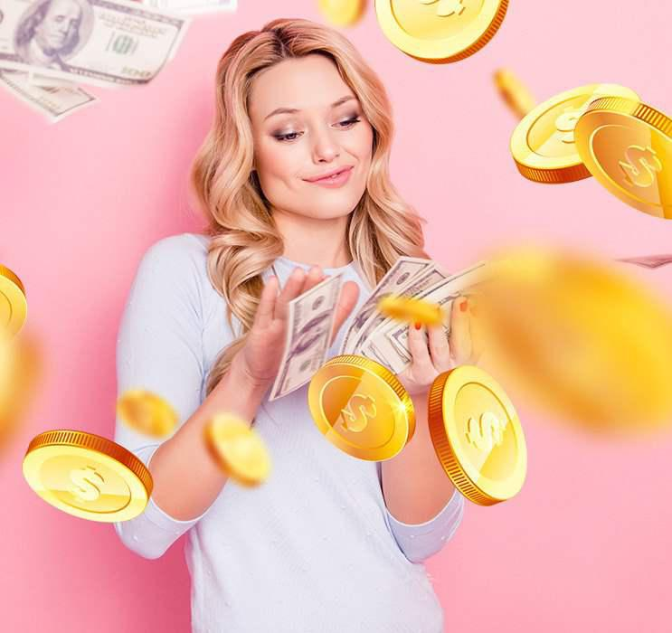Female Keno player flashing cash with gold coins falling in pink background