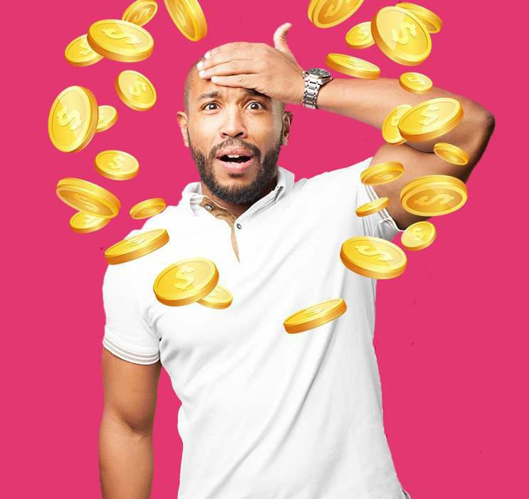 Male Keno player holding head in confusion with gold coins falling in deep pink background