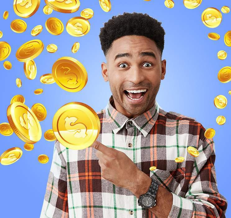 Male Keno player with excited expression pointing to gold coins falling in blue background