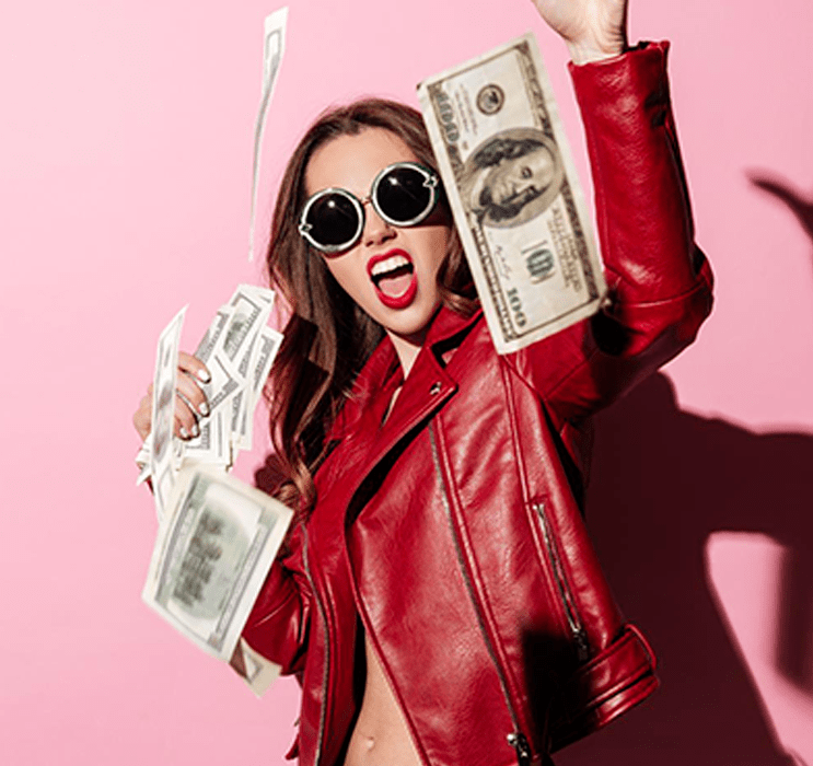 Female in Sunglasses Throwing Money