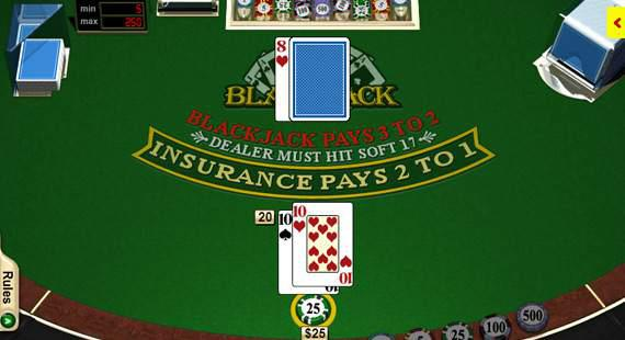 online blackjack table with 2 ten cards