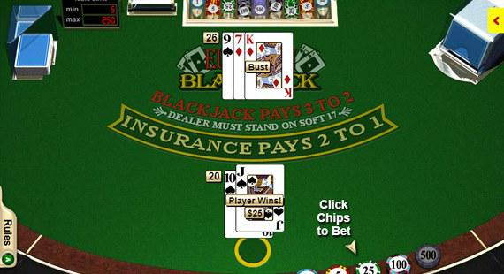 Blackjack table with winning player cards