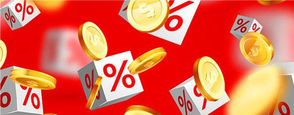 Gold coins and percentage symbols on red background