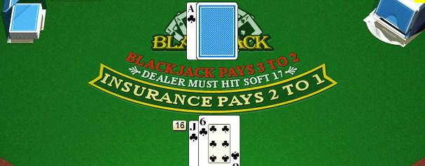Green blackjack table detailing insurance payout