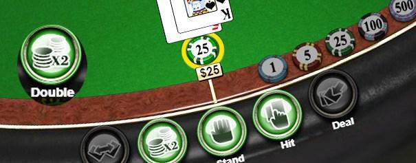 Green blackjack table detailing various bet types