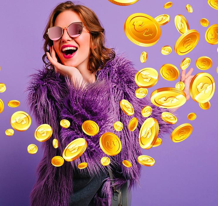 Female wearing sunglasses and purple fur coat with gold coins over background