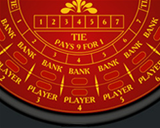 Digital red and yellow baccarat table